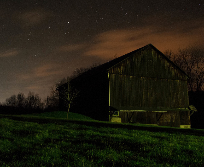 Farmhouse in the dark